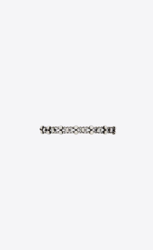 gewebtes kettenarmband mit perlen aus metall