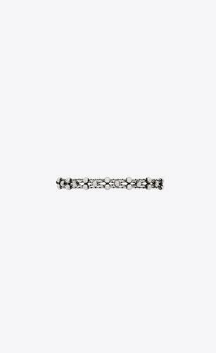 woven chain beaded bracelet in metal