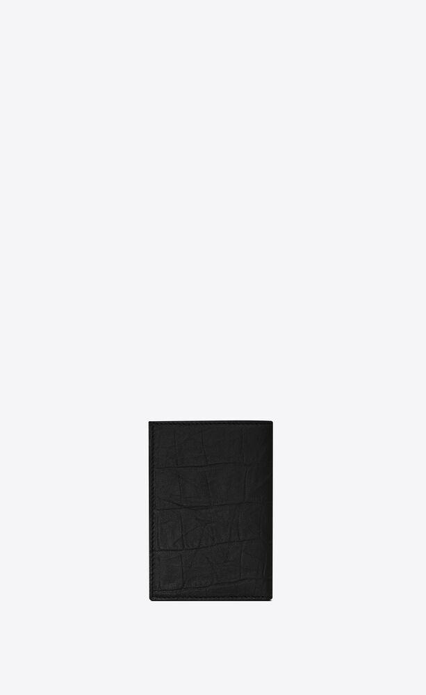 monogram portemonnaie für kreditkarten aus leder mit krokoprägung