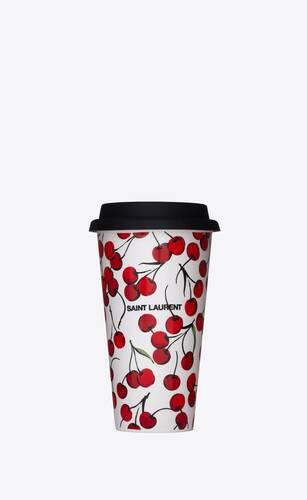 cherry print coffee mug in ceramic