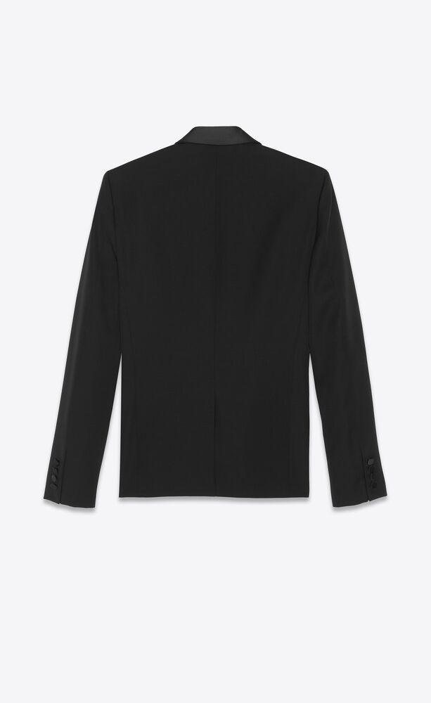 jacket with shawl collar in organic black gunpowder