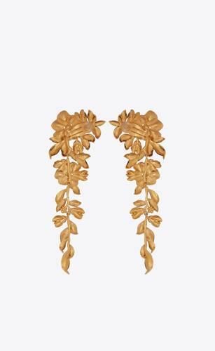 cascading flower earrings in metal
