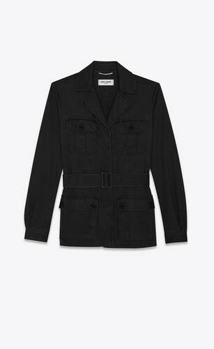 saharienne jacket in black cotton gabardine