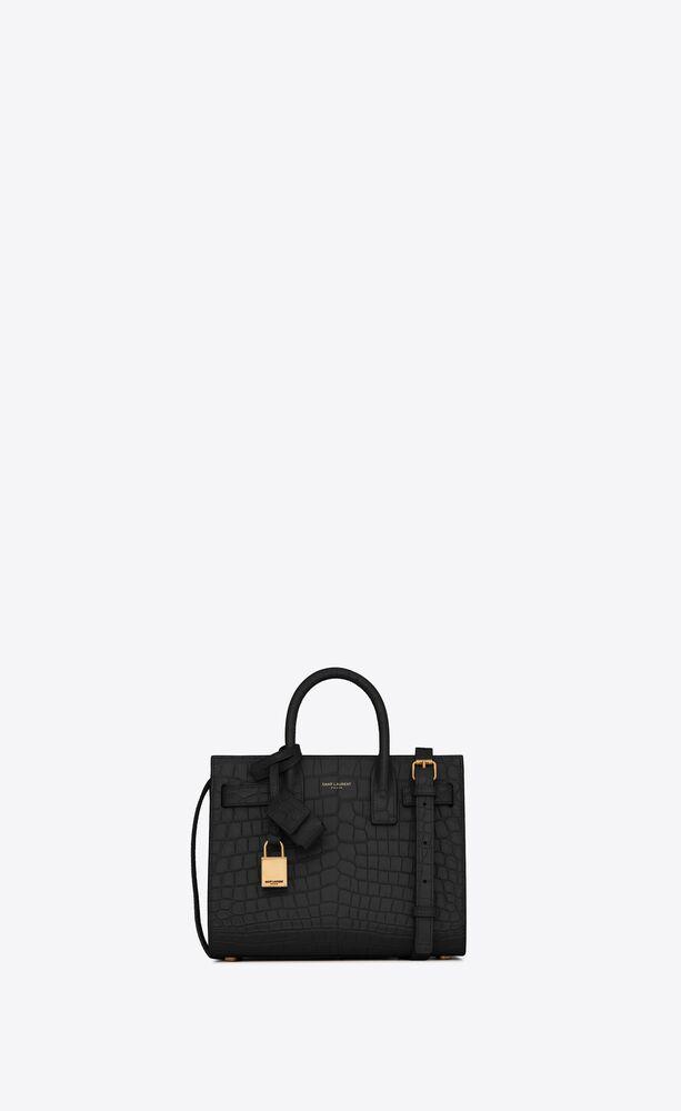 classic sac de jour nano in crocodile  embossed matte leather