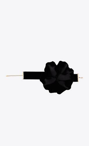 rose choker necklace in velvet and brass