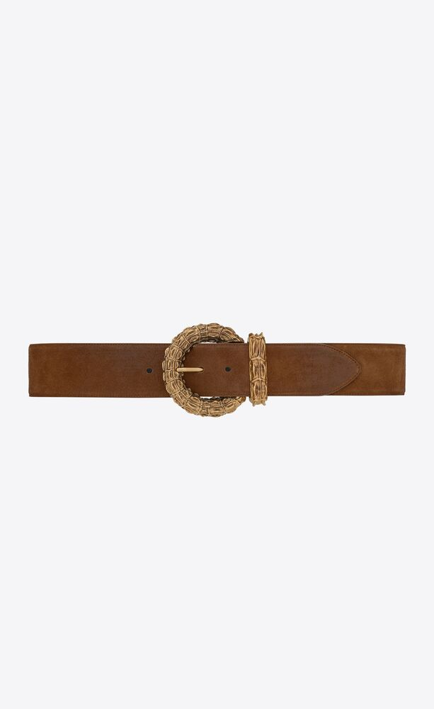 round crocodile buckle wide belt in suede