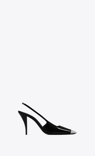 blade slingback-pumps aus lackleder
