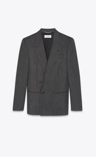 veste à double boutonnage en laine à rayures