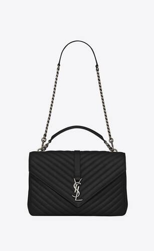 large chain bag nera in pelle matelassé