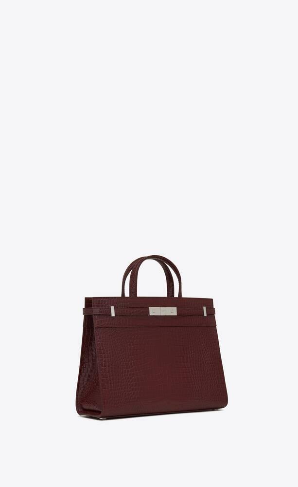 manhattan small shopping in shiny crocodile-embossed leather