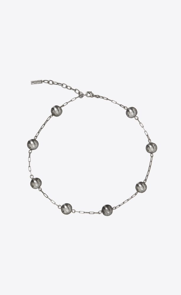beaded chain necklace in metal