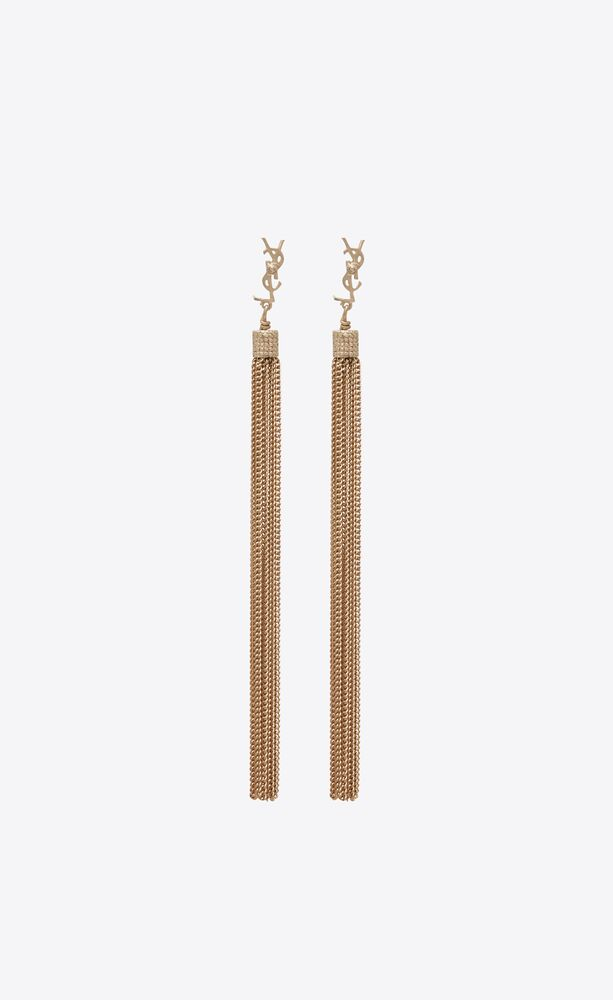 loulou earrings with chain tassels in light gold-colored brass