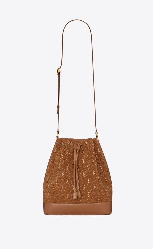 le monogramme bucket bag in studded suede