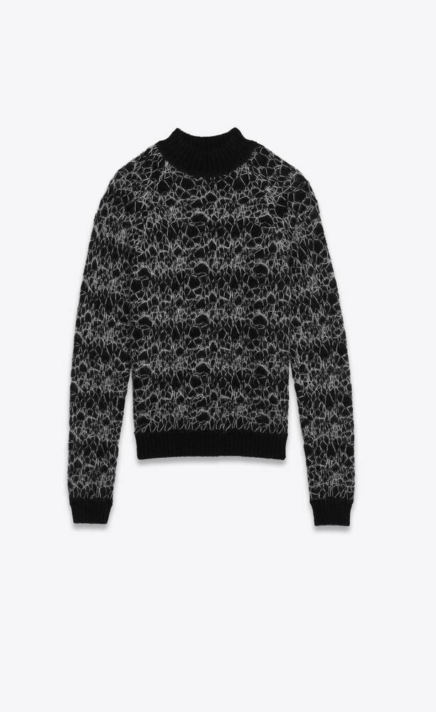 round-neck sweater in wool spider-web jacquard