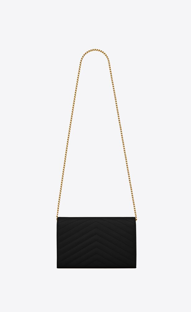 cartera con cadena monograma de piel repujada grain de poudre