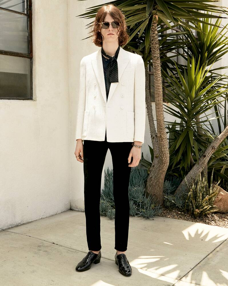 sequin-embroidered double-breasted tailored jacket in twill bouclé