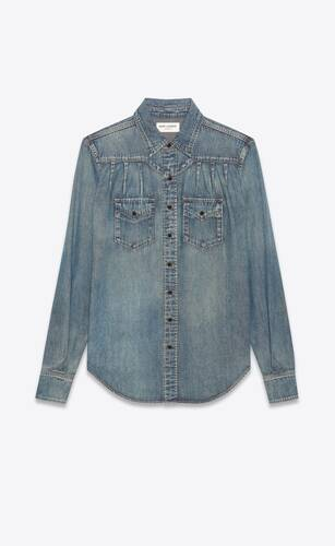 pleated western shirt in dirty medium vintage blue denim