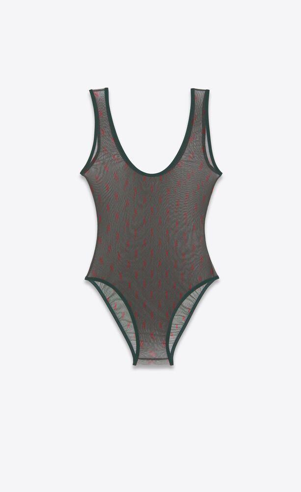 monogram bodysuit in tulle jersey