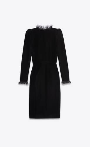 ruffled wrap dress in velvet