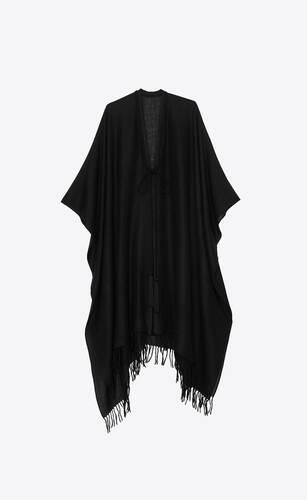 poncho con flecos de alpaca y tela de lana