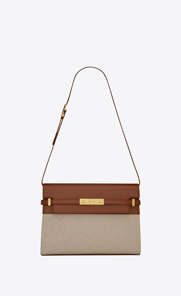 manhattan shoulder bag in canvas and leather