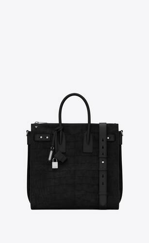 sac de jour north/south zip tote in crocodile-embossed nubuck and smooth leather