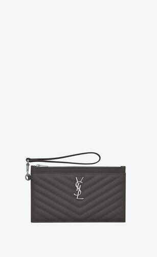 monogram large bill pouch in quilted grain de poudre embossed leather