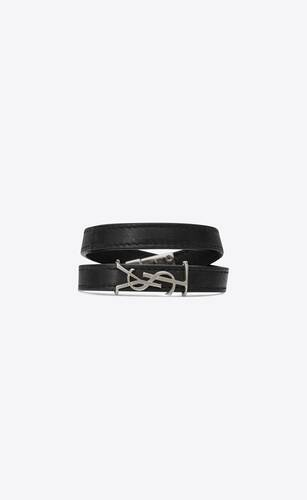 opyum double wrap bracelet in leather and silver-toned metal