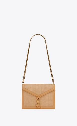 cassandra monogram clasp bag in micro raffia and box saint laurent leather