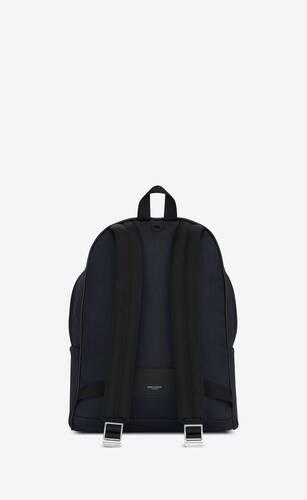 rucksack aus schwarzem nyloncanvas und leder