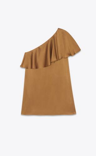 one-shoulder ruffle mini dress in satin crepe