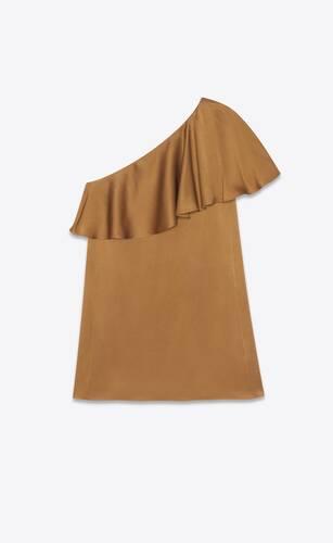 robe courte asymétrique à volants en crêpe de satin