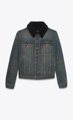 jacket with shearling in dark dirty vintage blue denim
