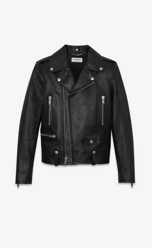 blouson motorcycle en cuir vintage noir