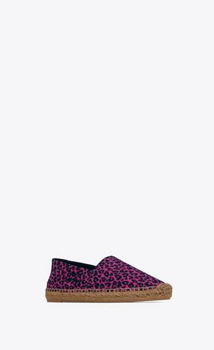 saint laurent embroidered espadrilles in heart-shaped leopard-print canvas