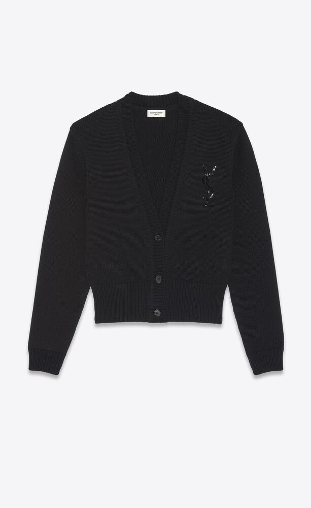 monogram embroidered cardigan in cashmere