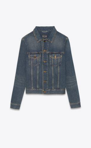 fitted jacket in dark dirty vintage blue denim