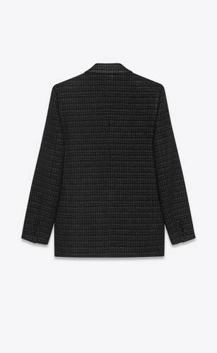 chaqueta de tweed de lana con motivo de rejilla lamé