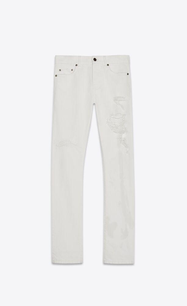 slim jeans with holes in white stonewash denim