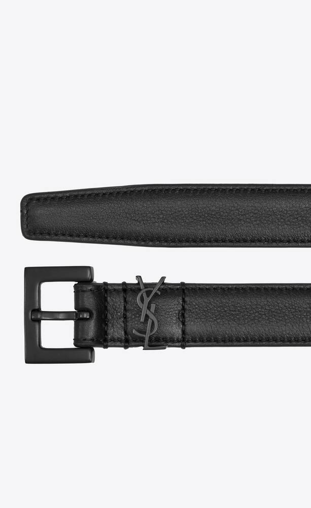 monogram narrow belt with square buckle in smoothleather