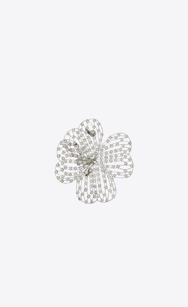 crystal clover brooch in metal
