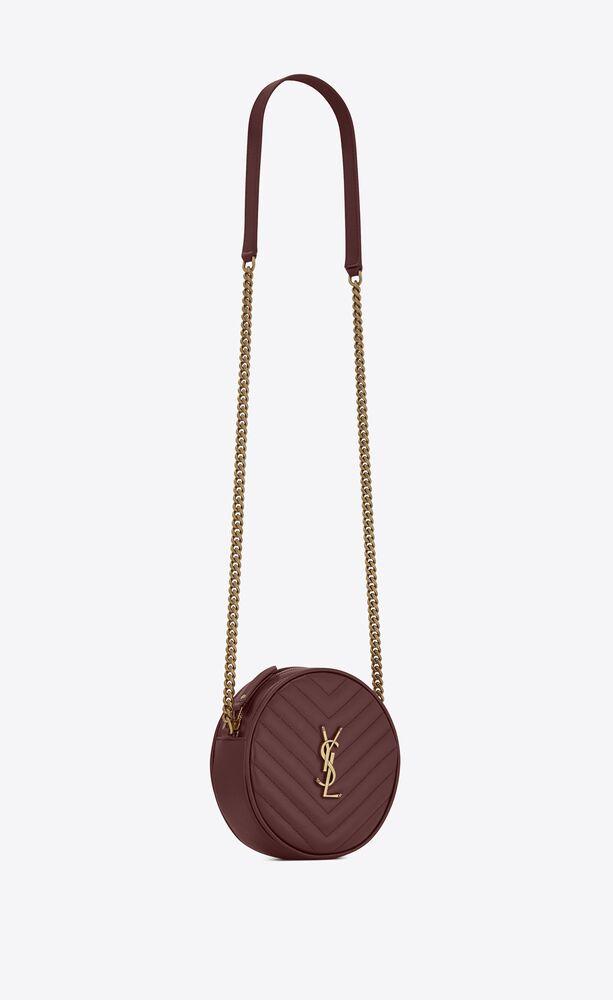 vinyle sac caméra rond en cuir embossé grain de poudre et matelassé en chevrons