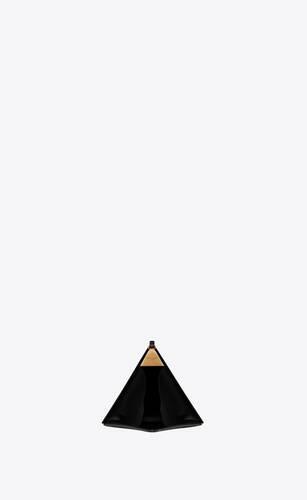 pyramide minaudière aus schwarzem lackleder