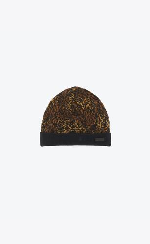 knitted cuff beanie in lamé leopard-print mélange