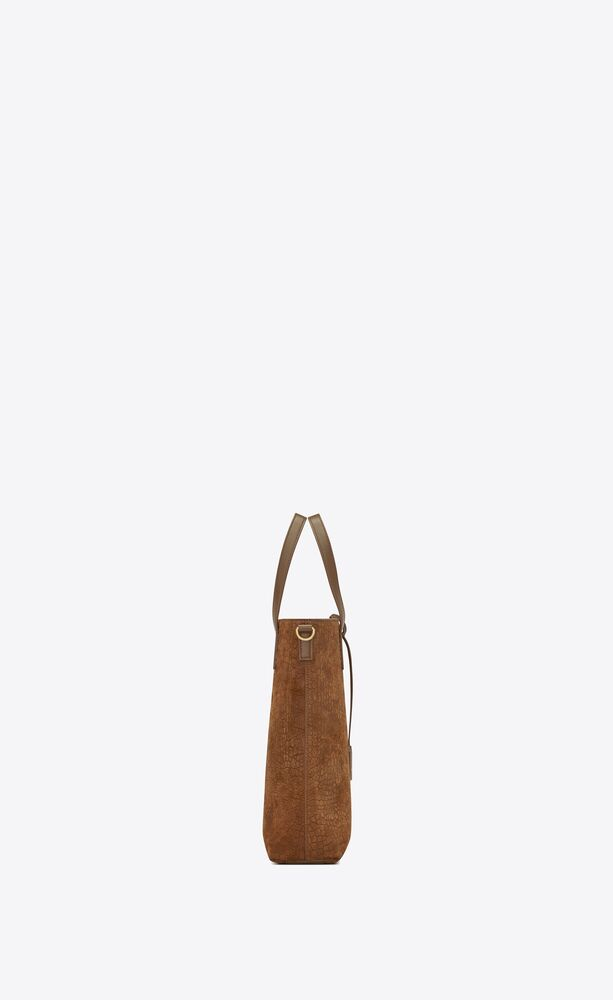 bolso shopper saint laurent north/south toy de ante repujado de cocodrilo y piel lisa