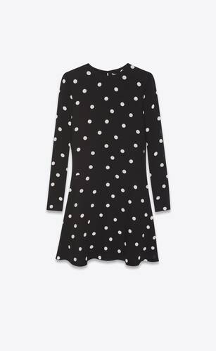 dotted flared dress in crepe viscose