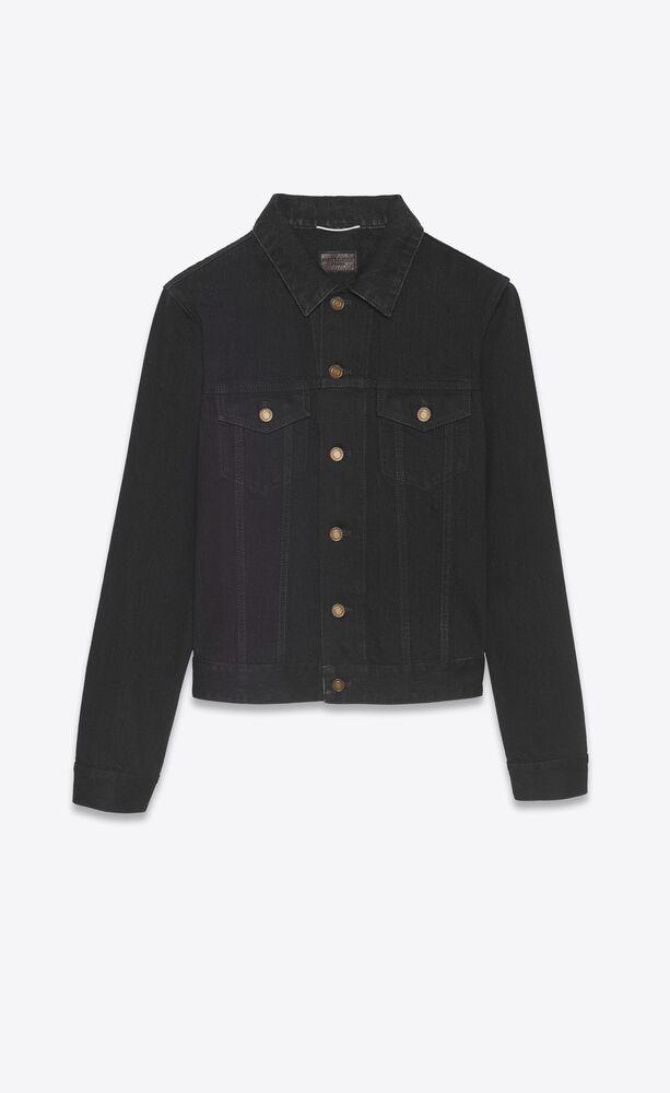 fitted jacket in worn black denim