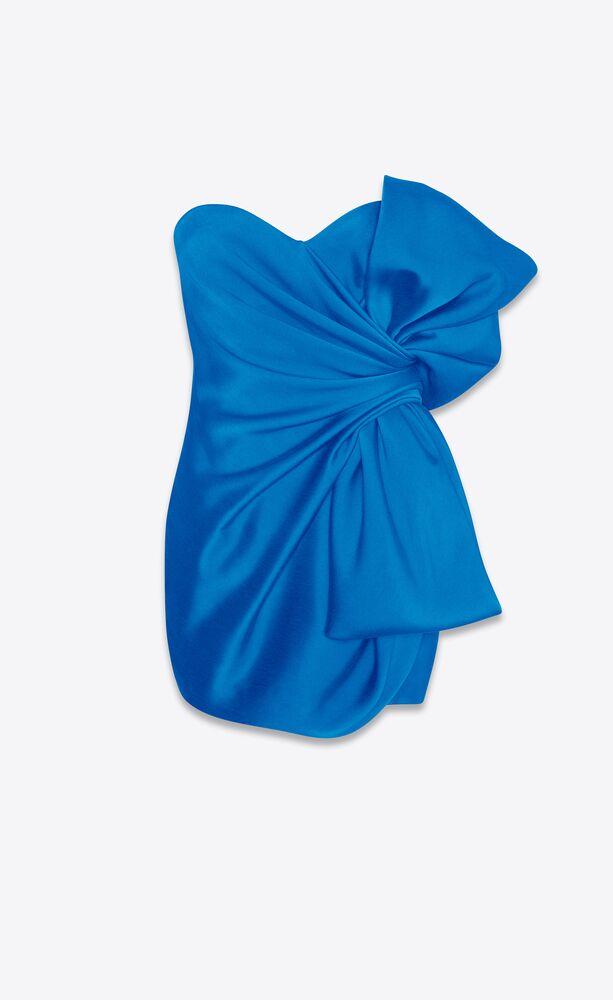 strapless bow mini dress in peachskin satin