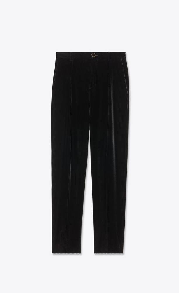 pleated pants in shadow striped velvet
