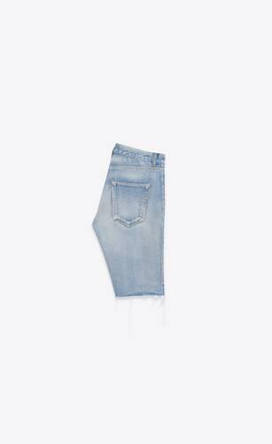 bermuda en denim stretch worn light blue